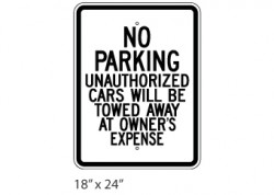 No Parking- Unauthorized Cars Will Be Towed