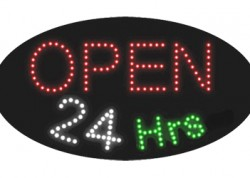 Open 24hrs Oval Open Sign