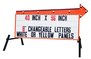 Outdoor LIghted Portable Message Sign - Headliner Flashing Arrow