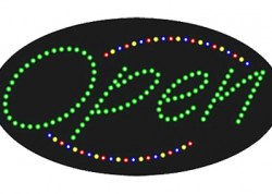 Green Oval Open Sign