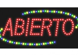 Abierto Oval LED Sign