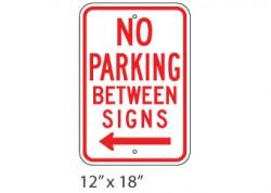 No Parking Between Signs Left