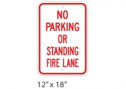 No Parking Or Standing Fire Lane